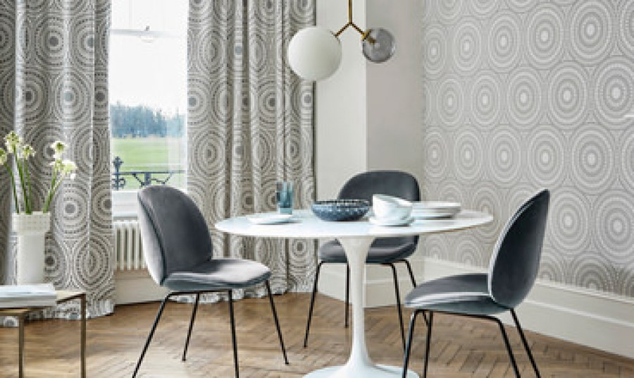 fabric-wallpaper-grey-circles-geometric-dining-room-cadencia-paloma-harlequin-style-library